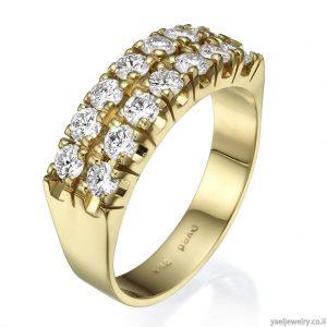 טבעת זהב צהוב משובצת יהלומים