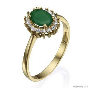 טבעת זהב צהוב משובצת יהלומים בעיצוב אישי