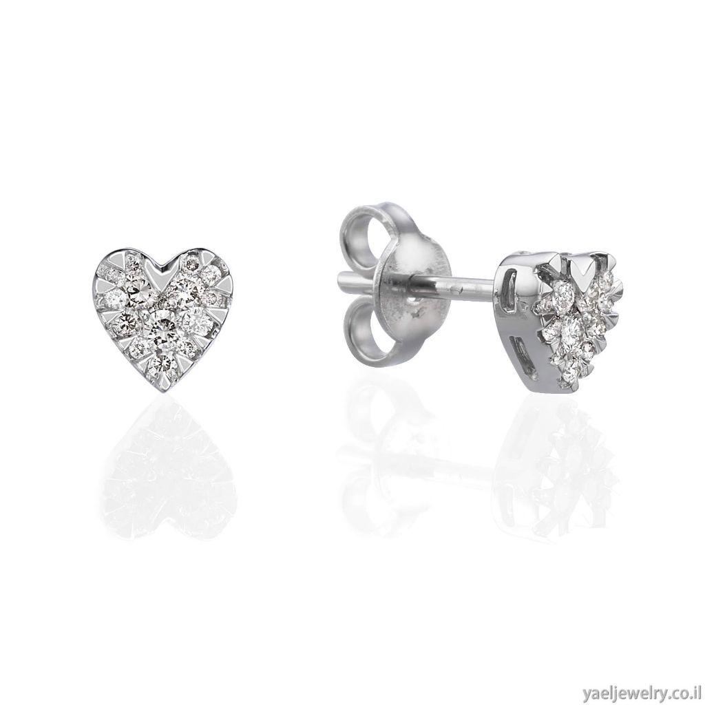 עגילים בצורת לב עם יהלומים