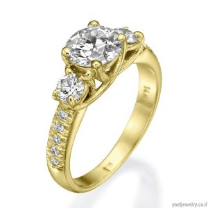 טבעת זהב צהוב בשיבוץ יהלומים