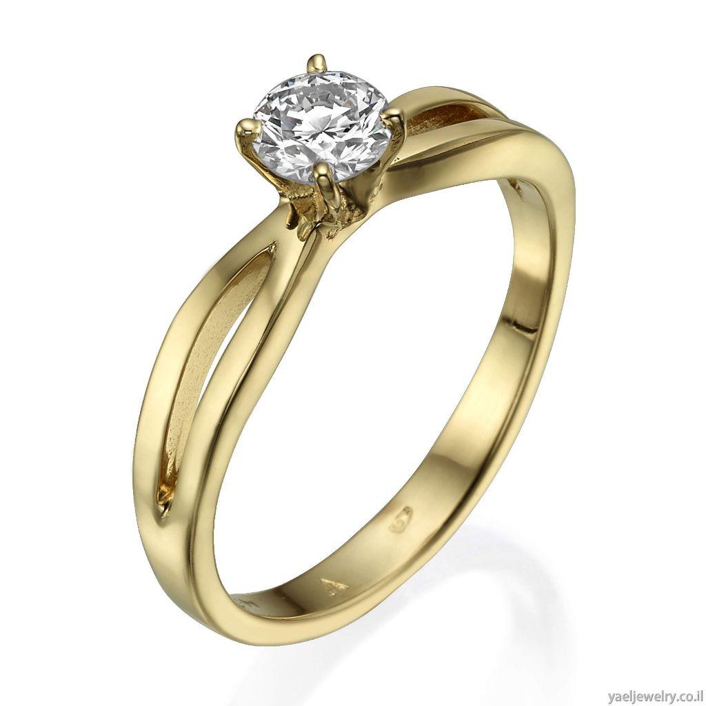 טבעת יהלום זהב צהוב