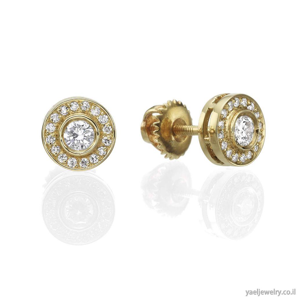 עגילי זהב משובצים יהלומים