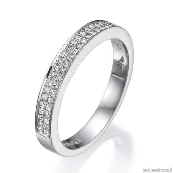 טבעת זהב לבן בעיצוב אישי